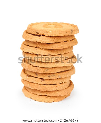 stack of cookies with nuts on a white background