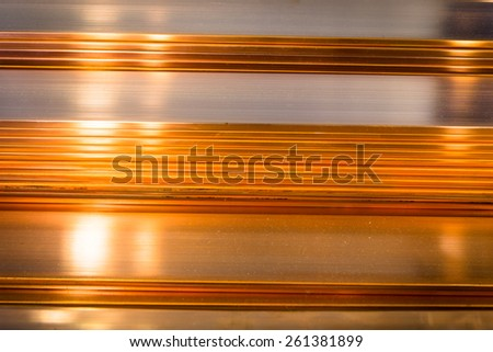 stack of copper sheets. copper. - stock photo