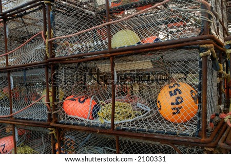 Stack of crab pots - stock photo