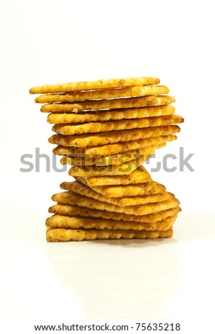 stack of cracker on a white background