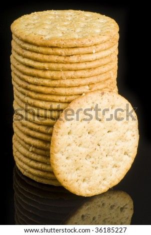 Stack of Crackers and Reflection
