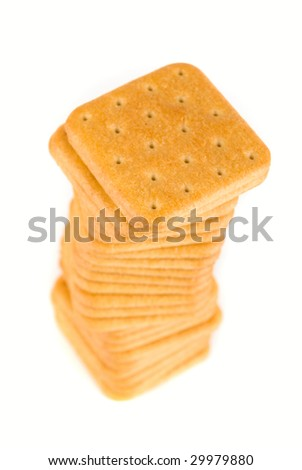 Stack of crackers isolated on white background