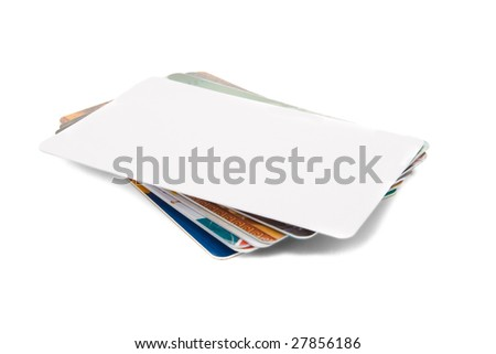 Stack of credit card isolated on white - stock photo