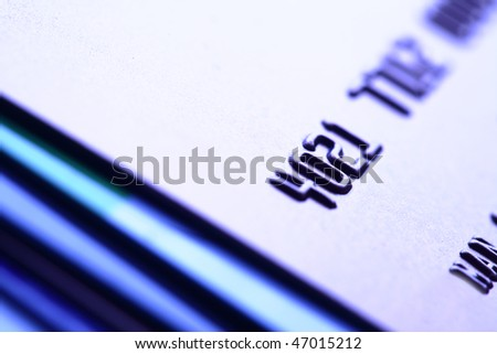 Stack of credit cards close-up. Shalow DOF! - stock photo