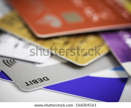 Stack of credit cards debt, loan or purchase concept - stock photo