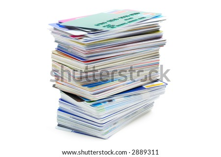 stack of credit cards on a white background with pretty shadow - stock photo