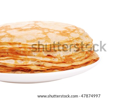 Stack of crepes on a plate isolated - stock photo