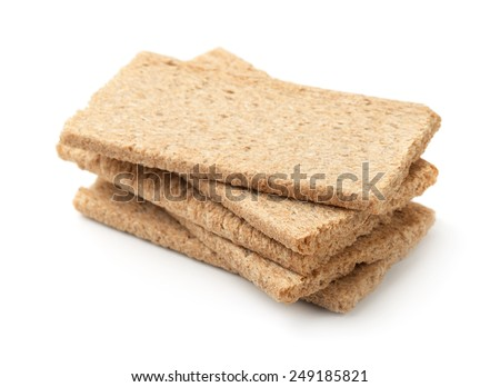 Stack of  crispbread  isolated on white  - stock photo