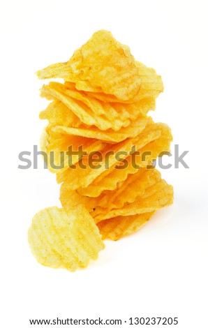 Stack of Crispy Potato Chips isolated on white background