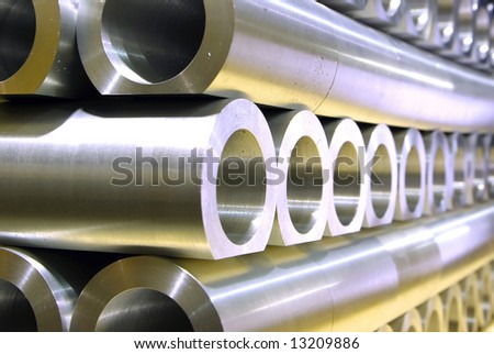 Stack of crossing pipes abstract perspective - stock photo
