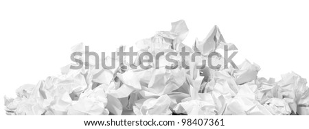 stack of crumpled paper balls isolated on white - stock photo