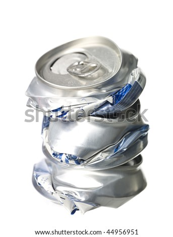 Stack of Crushed Aluminum Cans isolated on white background - stock photo