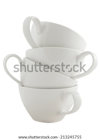 Stack of cups on white background - stock photo
