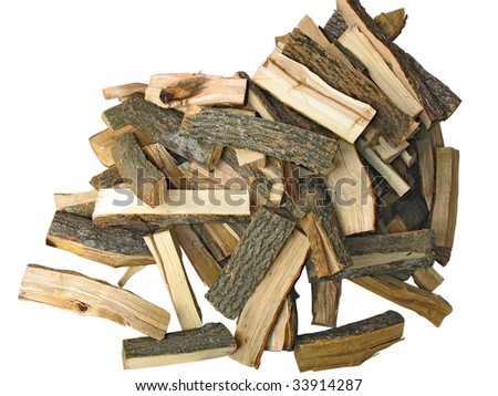 stack of cut logs fire wood isolated over white - stock photo
