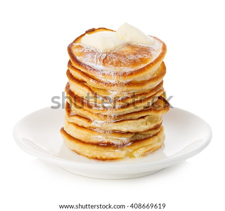 Stack of delicious pancakes with butter on plate isolated on white background. - stock photo