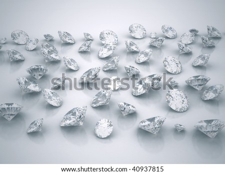 Stack of diamonds - stock photo