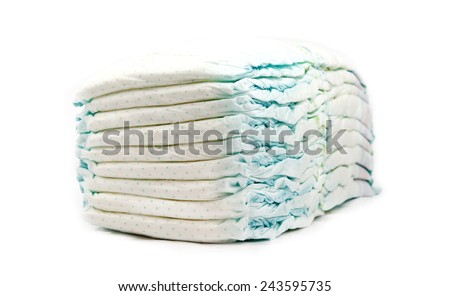 stack of diapers isolated on white background - stock photo