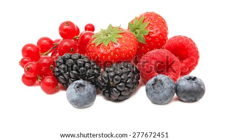 Stack of different berries (blueberry, raspberry, strawberry, red currant and blackberry) isolated on white background - stock photo