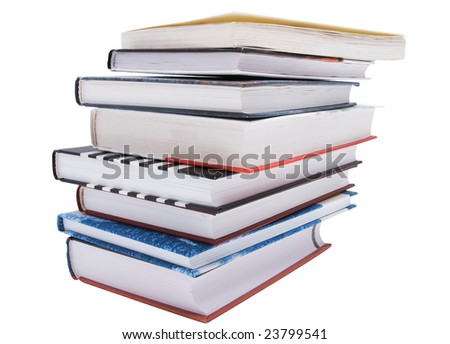 stack of different books isolated on white background