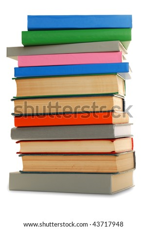 Stack of different color books, isolated over white.