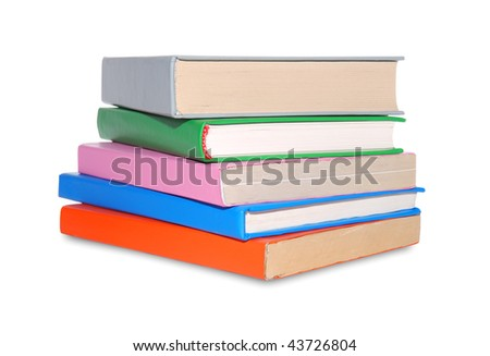 Stack of different color books isolated over white background
