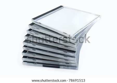 stack of disk isolated on white background - stock photo