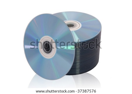 Stack of disks on white - stock photo