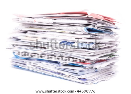 Stack of documents isolated - stock photo