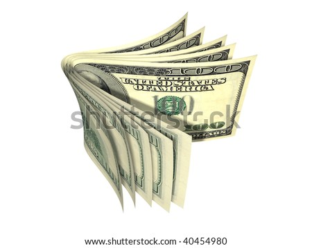 Stack of dollar banknote isolated on white