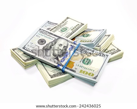 Stack of Dollar Bills isolated on white background