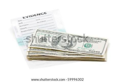 Stack of dollar bills on evidence bag - stock photo