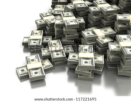 Stack of Dollar Concept (Computer generated image) - stock photo