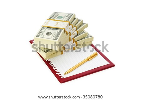 Stack of dollars and blank pad isolated