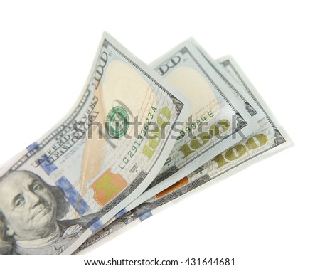 Stack of dollars banknotes, isolated on white - stock photo