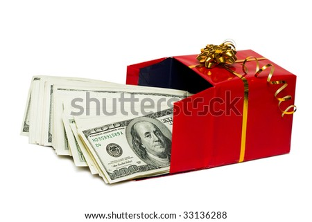 stack of dollars in red gift box - stock photo