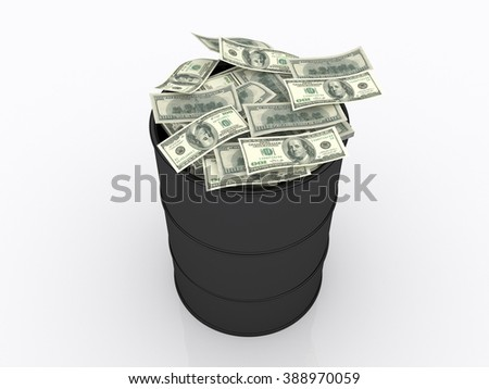 Stack of dollars in the oil barrel / The Oil ?ndustry Money and Economy Triangle - stock photo