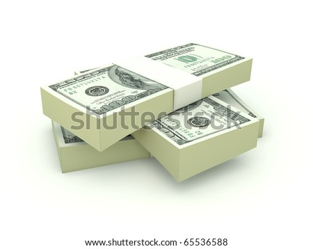 Stack of dollars isolated on white