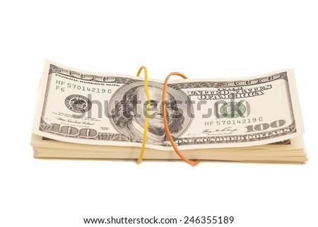 Stack of dollars isolated on white background  - stock photo