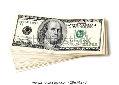 Stack of dollars on white background (isolated).