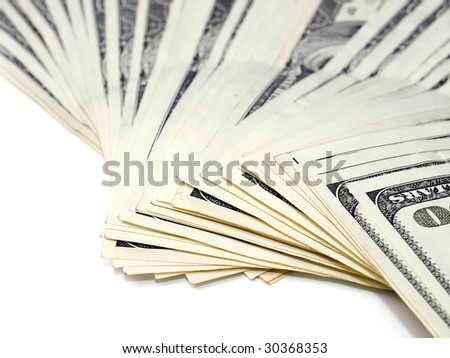 Stack of dollars on white background. See more dollars theme in my portfolio.