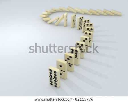Stack of dominoes falling down - stock photo