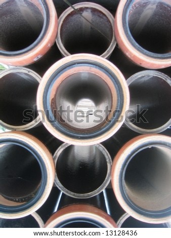 Stack of Drainage Pipe - stock photo