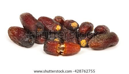 Stack of dried dates fruits isolated on white background (It is amongst the most expensive and also comes in king size.)