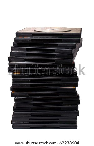 stack of dvd on white with shadow - stock photo