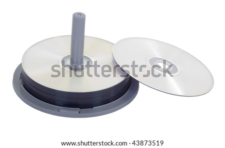 Stack of DVD with one on side; isolated, two clipping paths included - stock photo