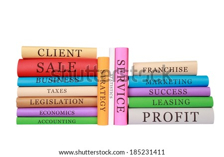 stack of education books isolated on white background - stock photo
