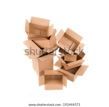 Stack of empty boxes. Isolated on a white background.