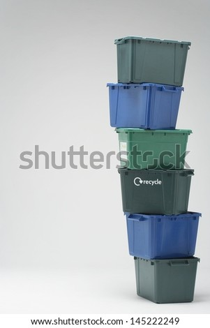Stack of Empty Recycling Boxes - stock photo