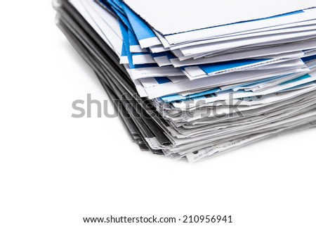 Stack of envelopes/letters isolated on white background - stock photo