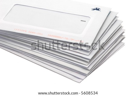 Stack of envelopes/letters on white background - stock photo